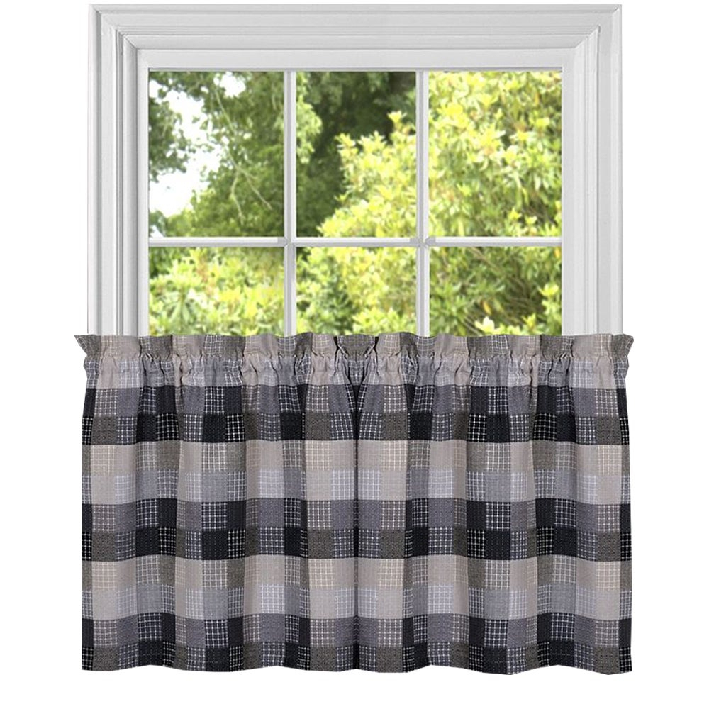 Black Cotton Blend Classic Checkered Decorative Window Curtain Separates Tier Pair Or Valance Throughout Cotton Blend Classic Checkered Decorative Window Curtains (View 7 of 20)