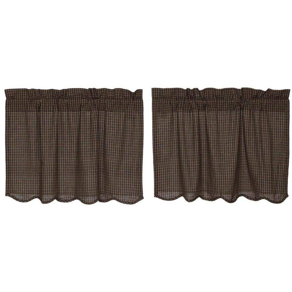 Black Primitive Kitchen Curtains Prim Grove Plaid Tier Pair Rod Pocket |  Ebay for Dexter 24 Inch Tier Pairs in Green (Image 4 of 20)