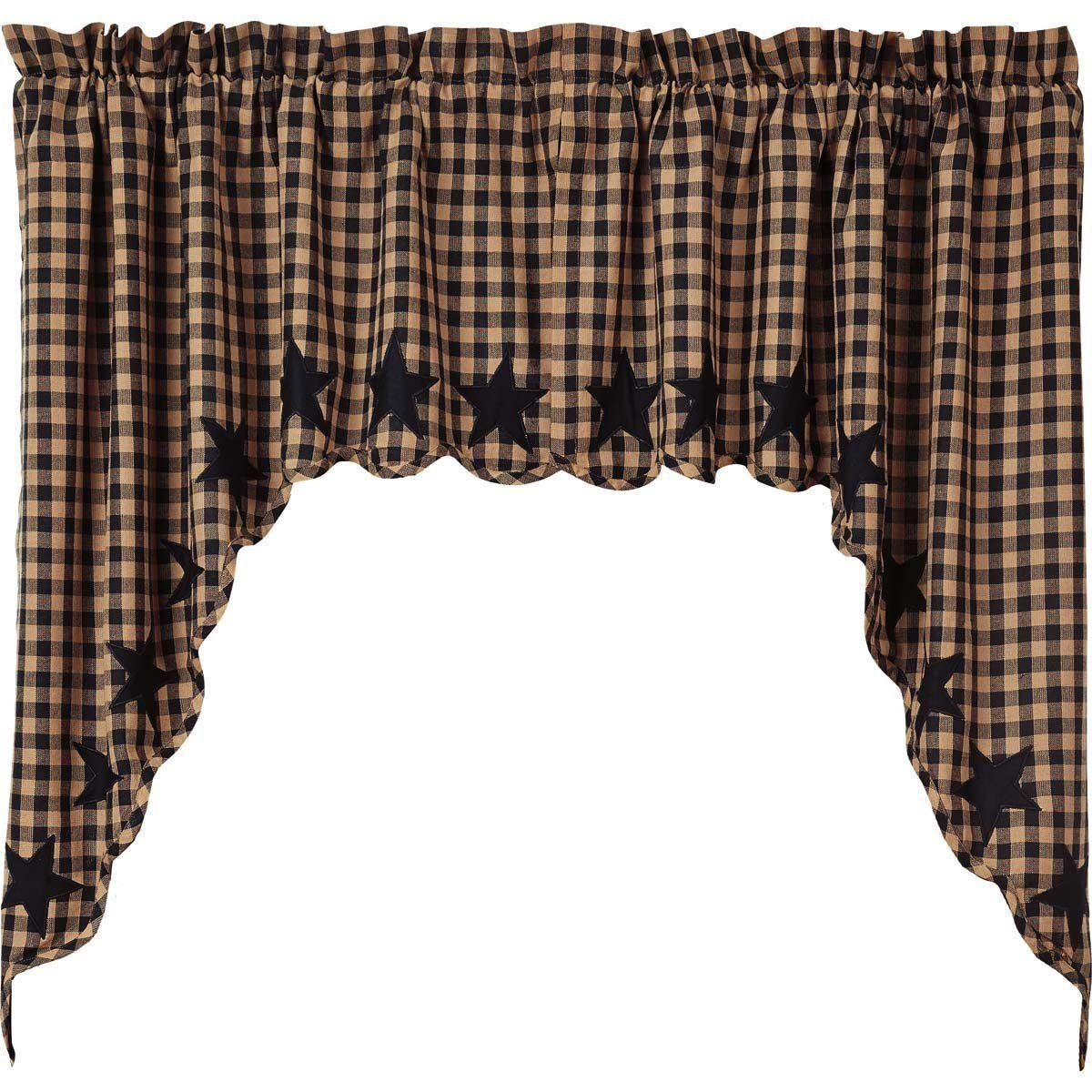 Black Star Swag | Country Home Decor | Swag Curtains For Check Scalloped Swag Sets (View 3 of 20)