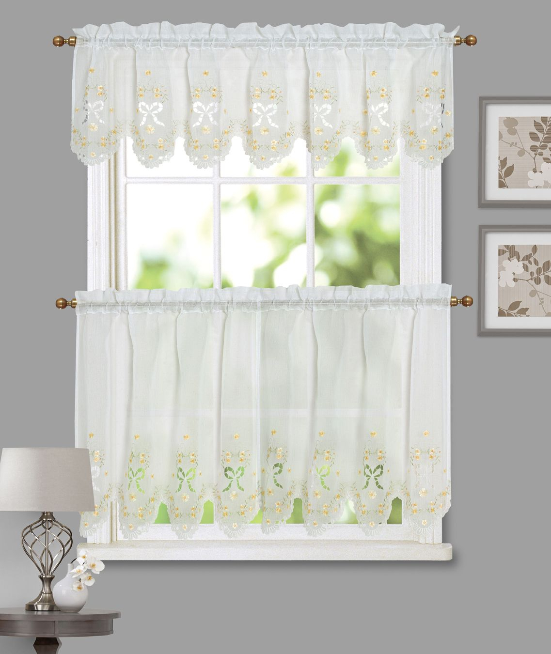 Blossoms And Bows Semi Sheer Faux Linen – Kitchen Curtains Pertaining To Semi Sheer Rod Pocket Kitchen Curtain Valance And Tiers Sets (View 3 of 20)
