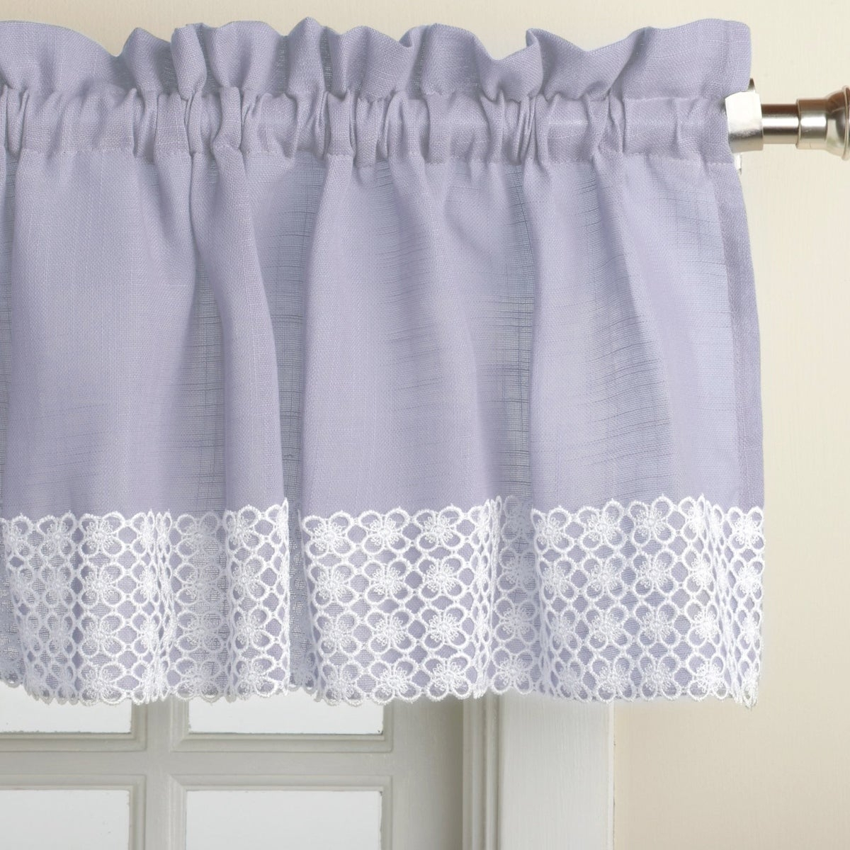 Blue Country Style Kitchen Curtains With White Daisy Lace Accent Inside Country Style Curtain Parts With White Daisy Lace Accent (View 1 of 20)
