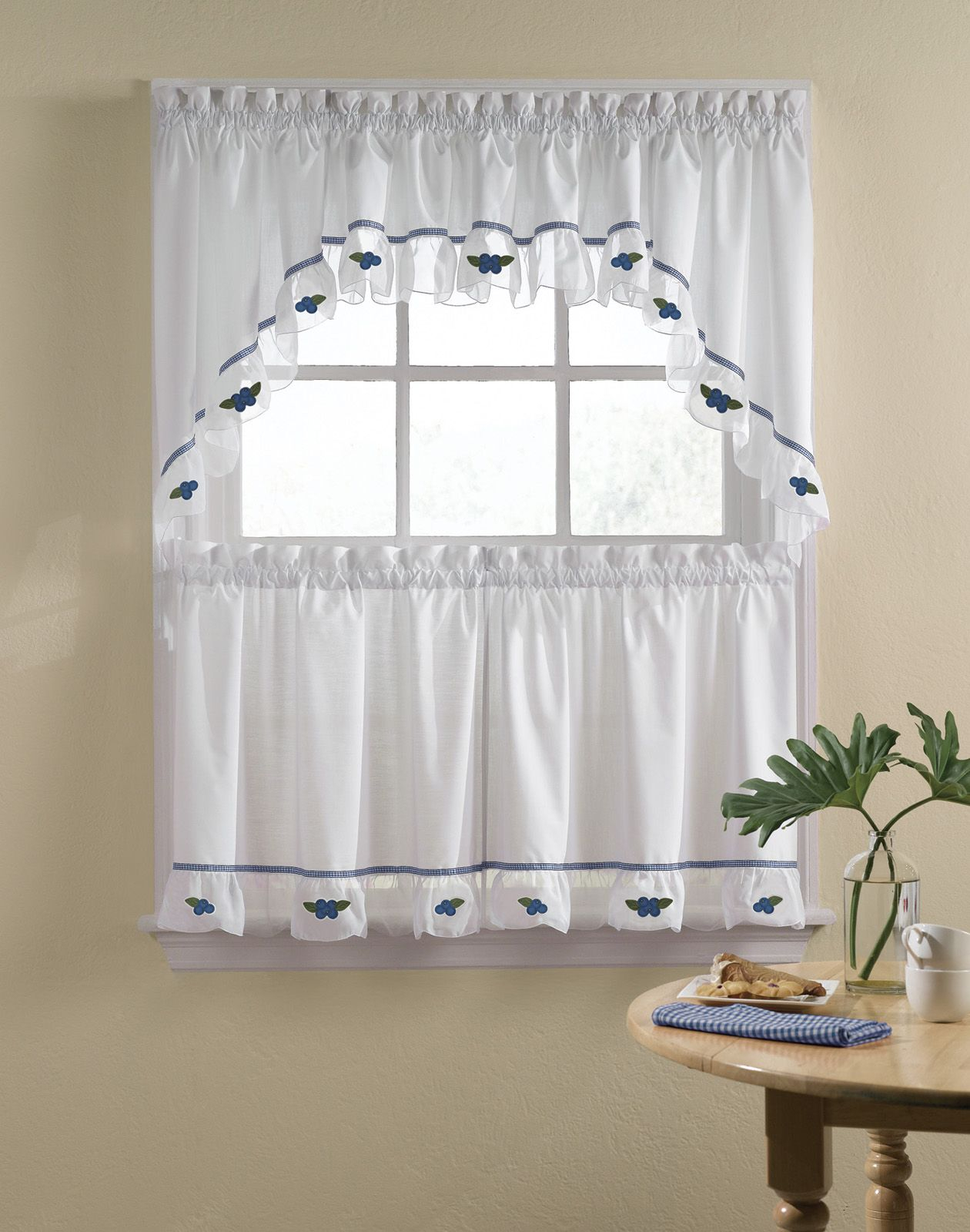 Blueberries 5 Piece Kitchen Curtain Tier Set / Curtainworks Inside Cotton Lace 5 Piece Window Tier And Swag Sets (View 7 of 20)