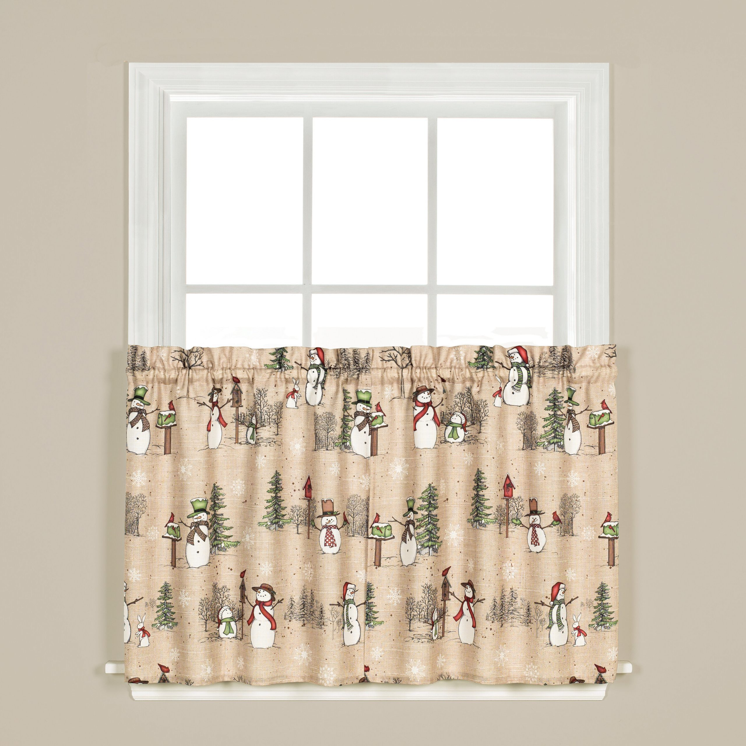 Brenna Snowman Tier Pair Cafe Curtain Inside Forest Valance And Tier Pair Curtains (View 19 of 20)