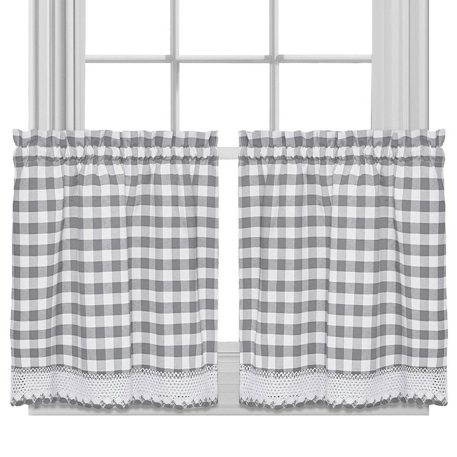 Buffalo Check Cotton Blend Grey Kitchen Curtain Tier Pair Regarding Classic Black And White Curtain Tiers (View 7 of 20)