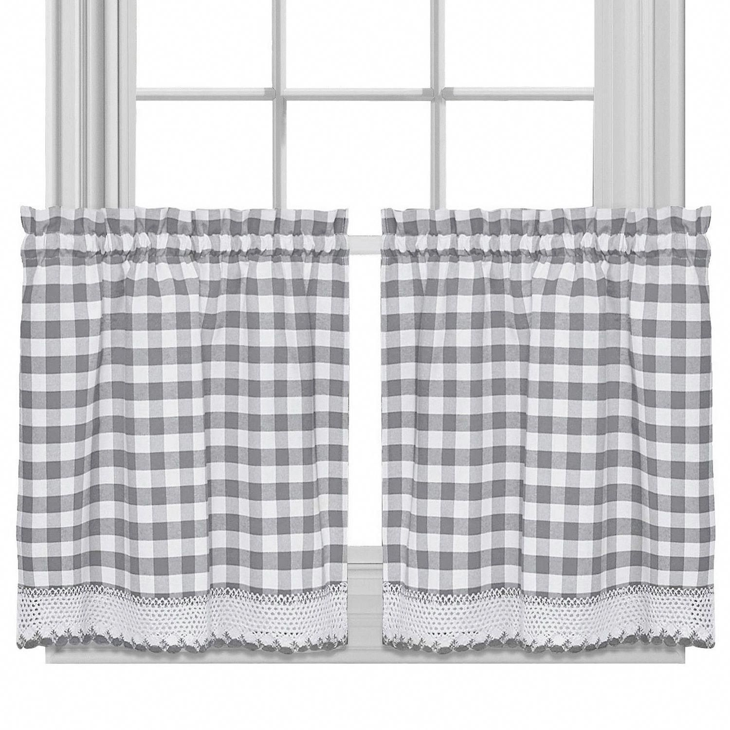 Popular Photo of Cotton Blend Grey Kitchen Curtain Tiers