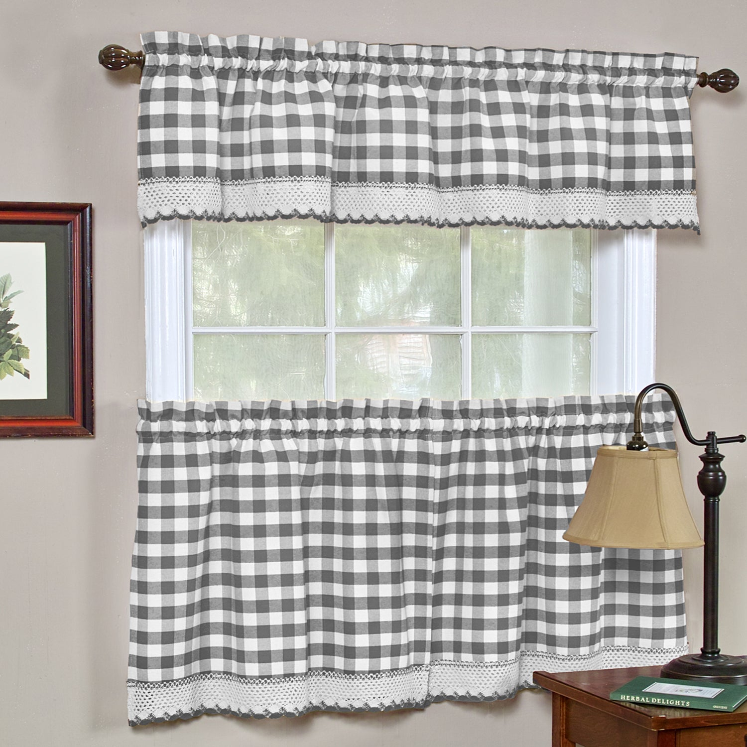 Buffalo Check Cotton Blend Grey Kitchen Curtain Tier Pair Within Class Blue Cotton Blend Macrame Trimmed Decorative Window Curtains (View 20 of 20)