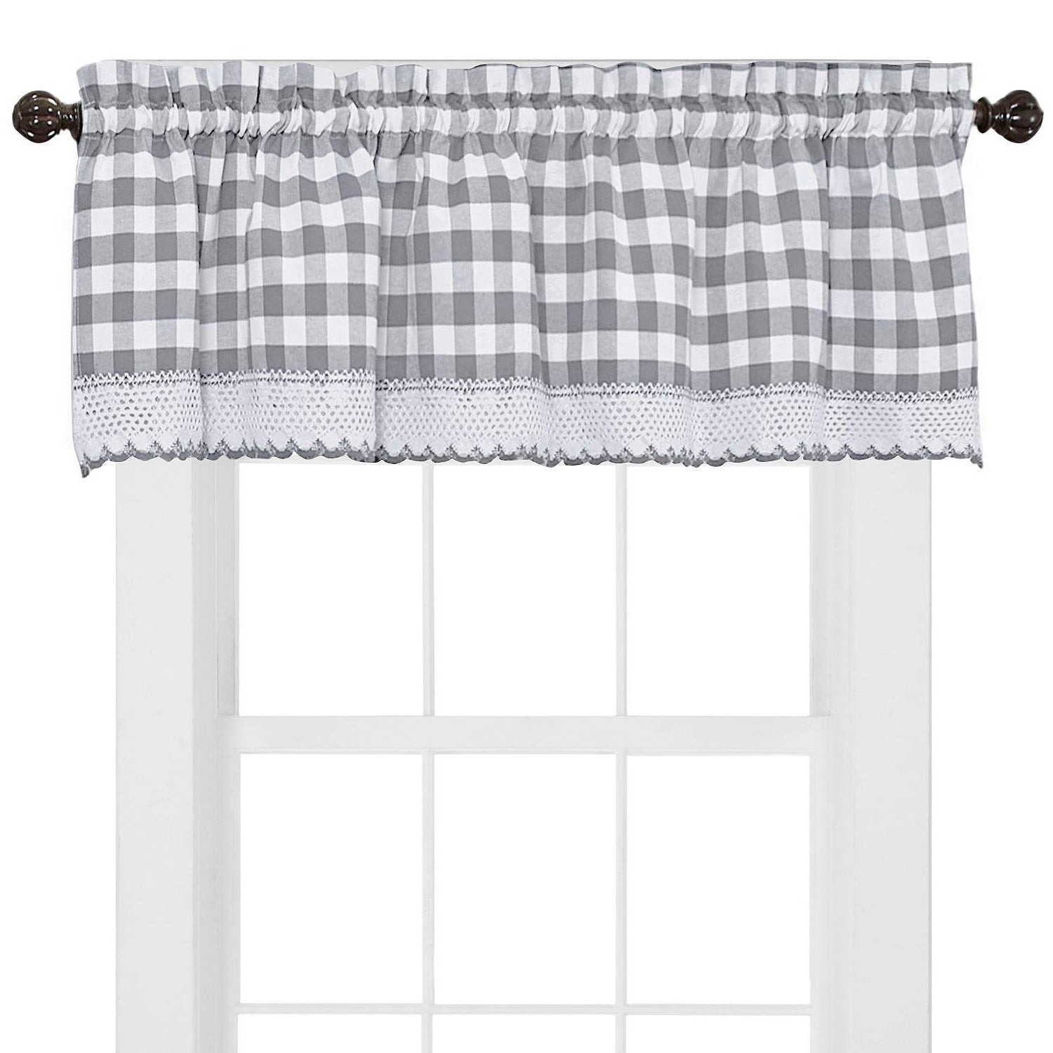 Buffalo Check Cotton Blend Grey Kitchen Curtain Valance With Regard To Cotton Blend Grey Kitchen Curtain Tiers (View 5 of 20)