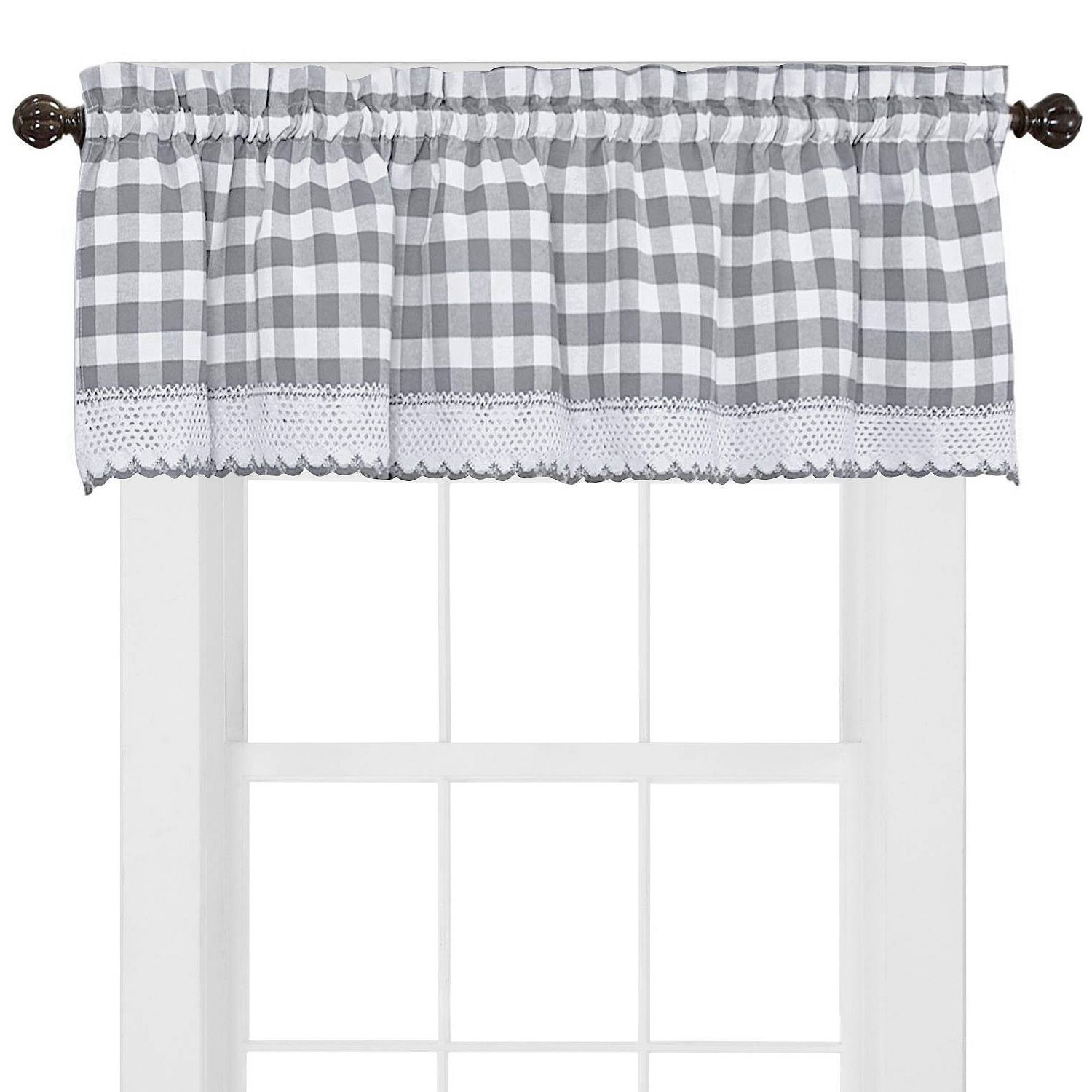 Buffalo Check Cotton Blend Grey Kitchen Curtain Valance With Regard To Cumberland Tier Pair Rod Pocket Cotton Buffalo Check Kitchen Curtains (View 6 of 20)