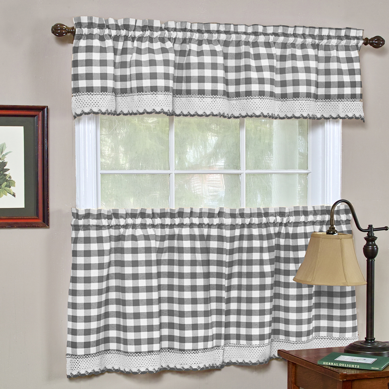 """Buffalo Check Gingham Kitchen Window Curtains 24"""" Tier & Valance Set Intended For Tree Branch Valance And Tiers Sets (View 8 of 20)"""