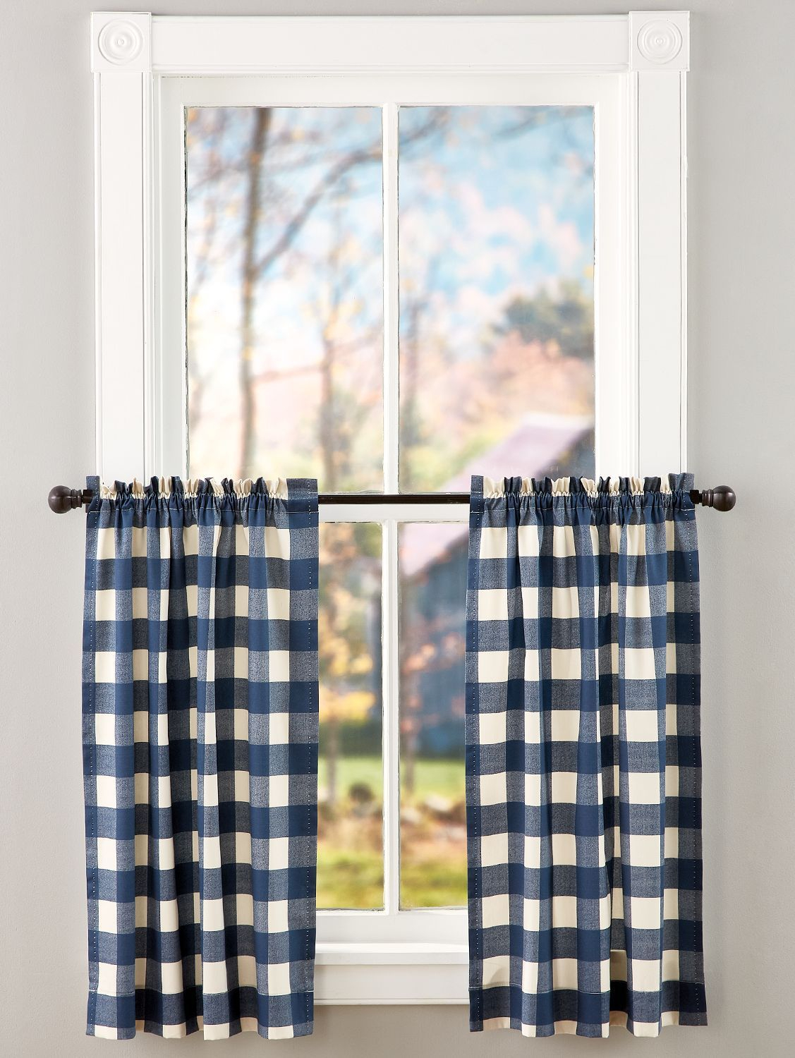 Buffalo Check Rod Pocket Tiers In 2019 | Decorating Throughout Grandin Curtain Valances In Black (View 3 of 20)