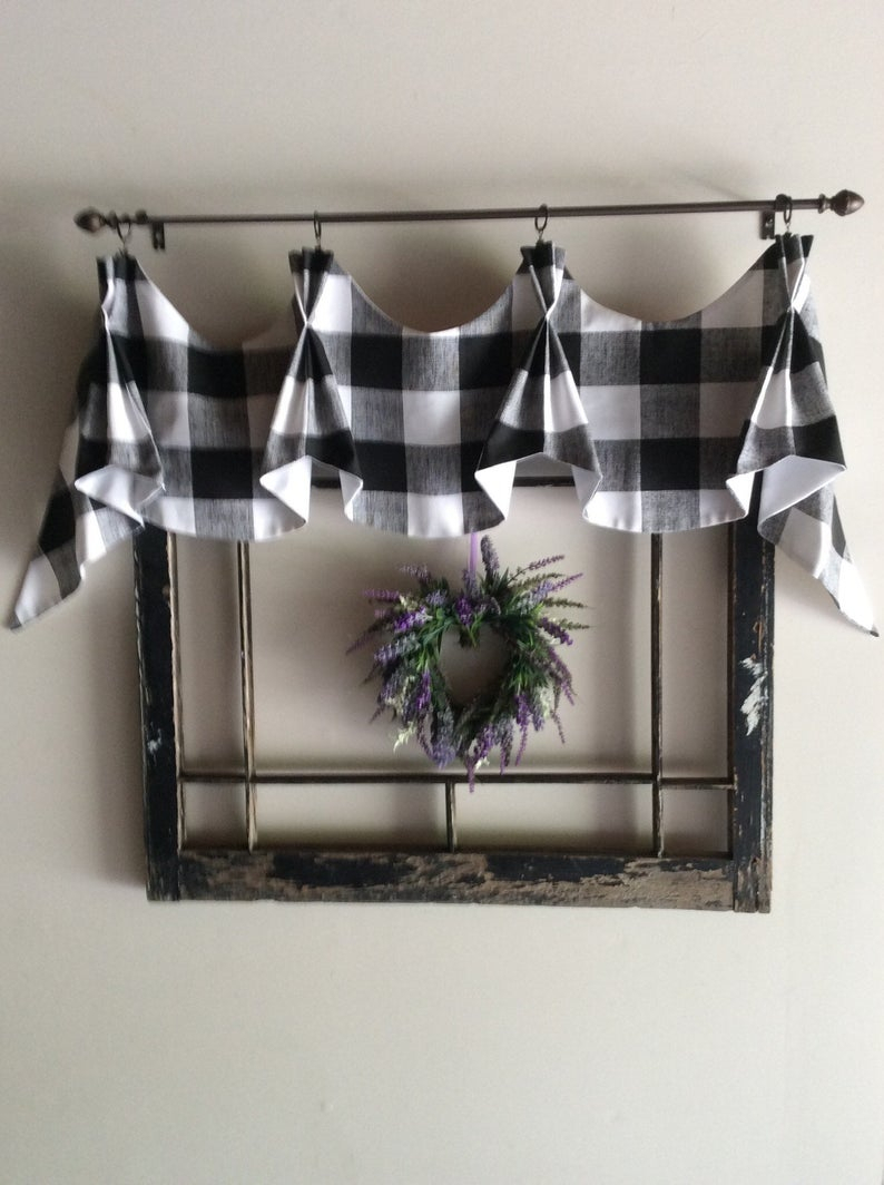Buffalo Checked Farmhouse Valance For Barnyard Buffalo Check Rooster Window Valances (View 8 of 20)