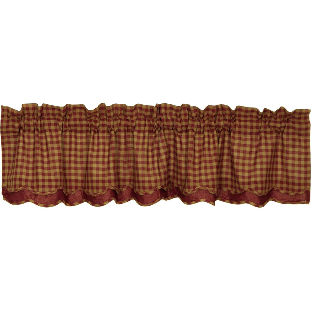 Burgundy Check Scalloped Layered Valance 16X72 Inside Check Scalloped Swag Sets (View 4 of 20)