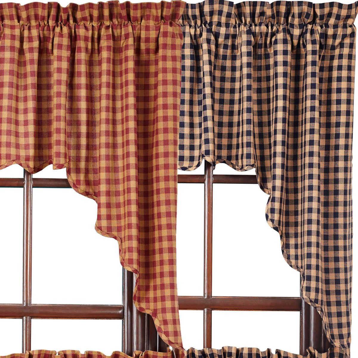 Burgundy Check Scalloped Swags | Evokes A Feeling, A Memory With Check Scalloped Swag Sets (View 6 of 20)