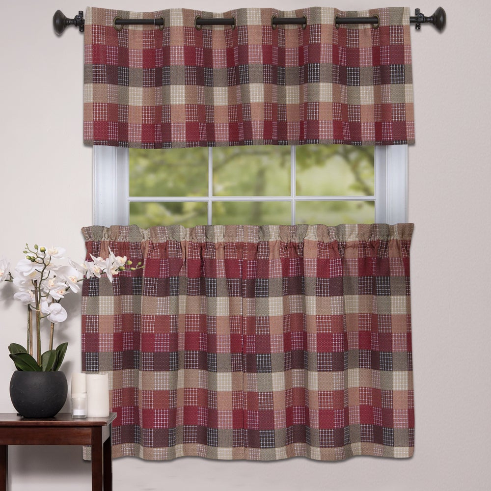 Popular Photo of Cotton Blend Classic Checkered Decorative Window Curtains
