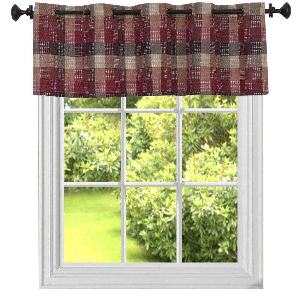 Burgundy Cotton Blend Classic Checkered Decorative Window Curtain Separates Tier Pair With Cotton Blend Classic Checkered Decorative Window Curtains (View 10 of 20)