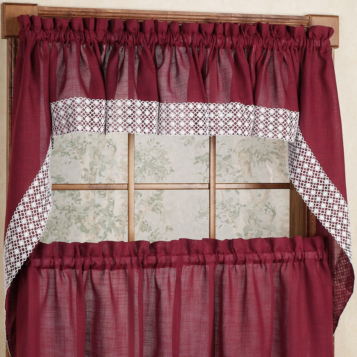 Burgundy Country Style Curtain Parts With White Daisy Lace Accent Tier, Swag And Valances Throughout Country Style Curtain Parts With White Daisy Lace Accent (View 2 of 20)