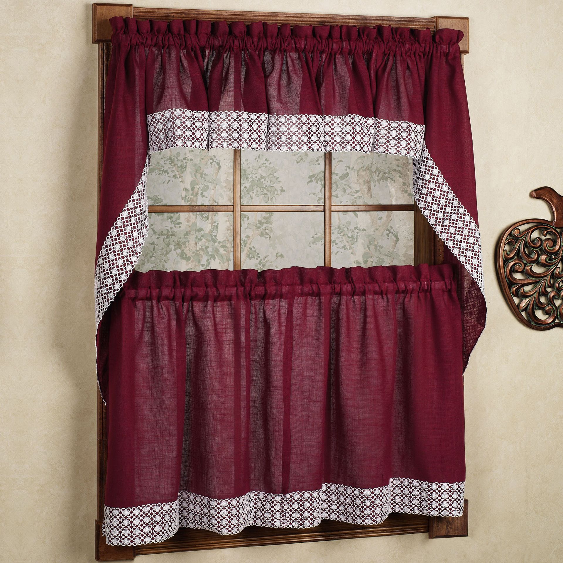 Burgundy Country Style Curtain Parts With White Daisy Lace Inside Country Style Curtain Parts With White Daisy Lace Accent (View 3 of 20)