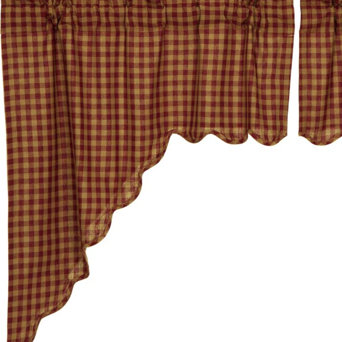 Burgundy Red Primitive Kitchen Curtains Burgundy Check Rod Pocket Cotton Check Swag Pair Within Check Scalloped Swag Sets (View 7 of 20)
