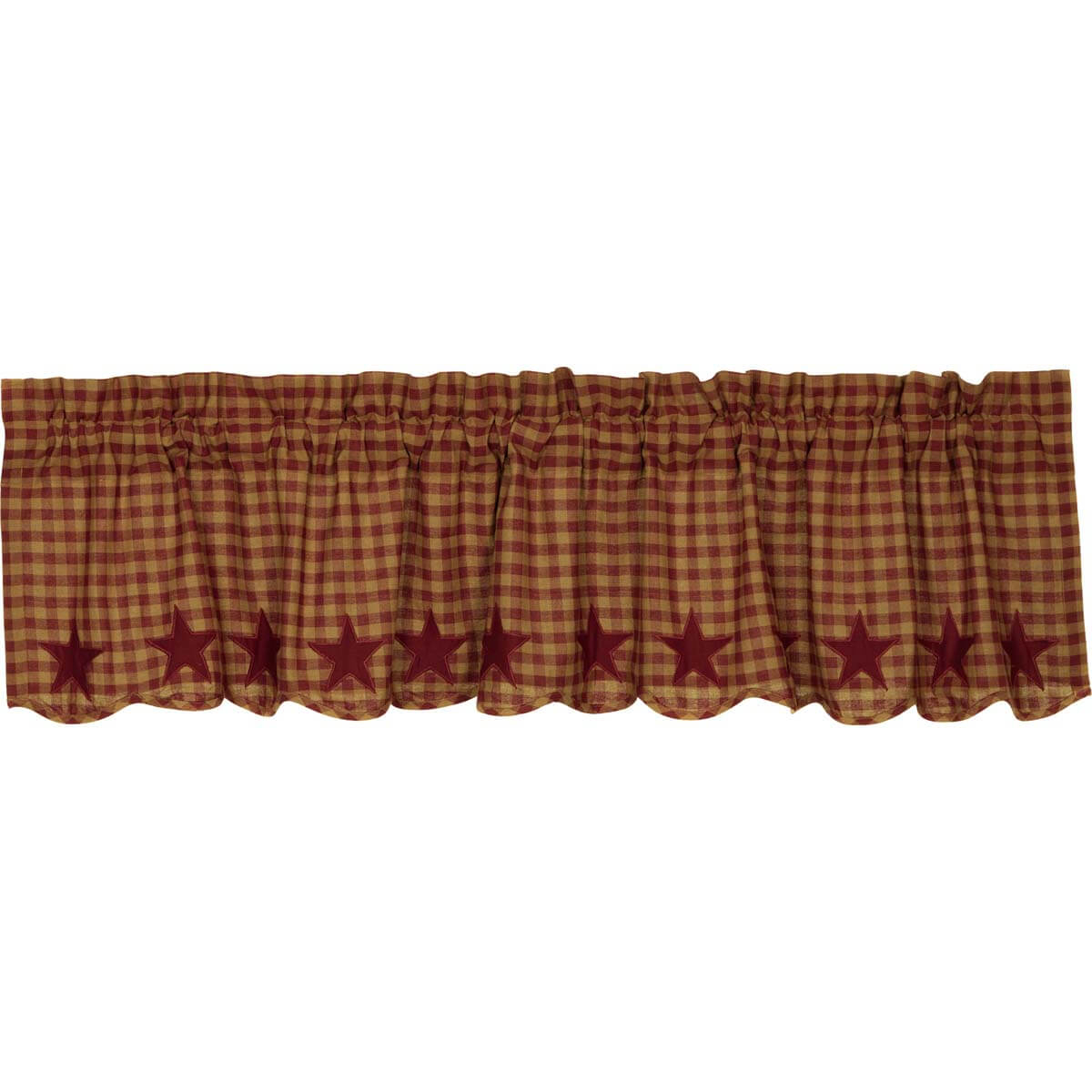 Burgundy Star Scalloped Valance 16X72 With Check Scalloped Swag Sets (View 9 of 20)