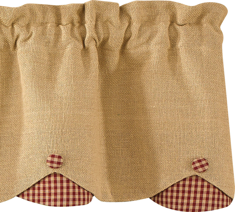 Burlap And Wine Check Scalloped Valance With Regard To Check Scalloped Swag Sets (View 10 of 20)