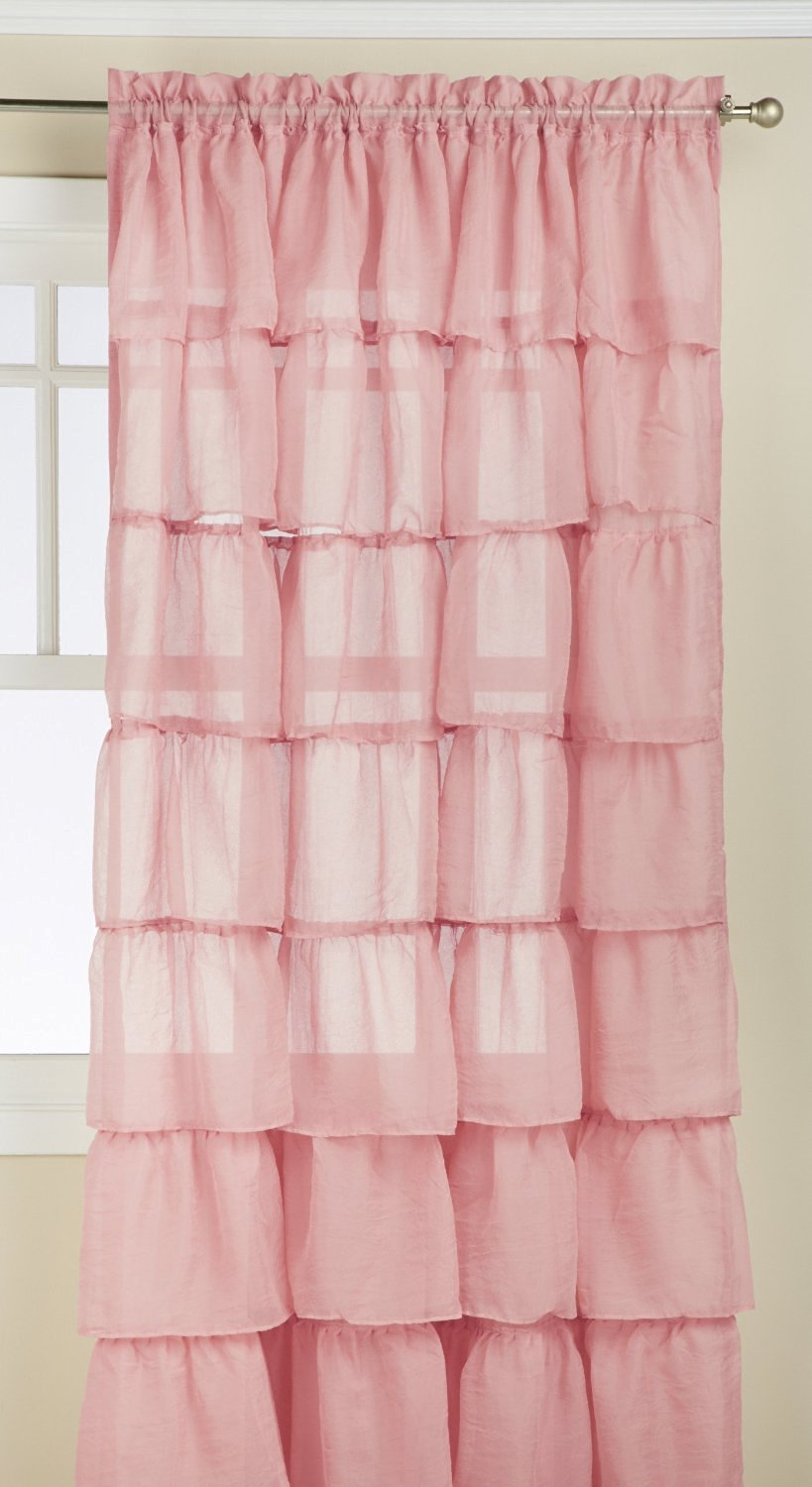 """Buy Green 84"""" Long Gypsy Shabby Chic Ruffled Fabric Shower For Elegant Crushed Voile Ruffle Window Curtain Pieces (View 12 of 20)"""