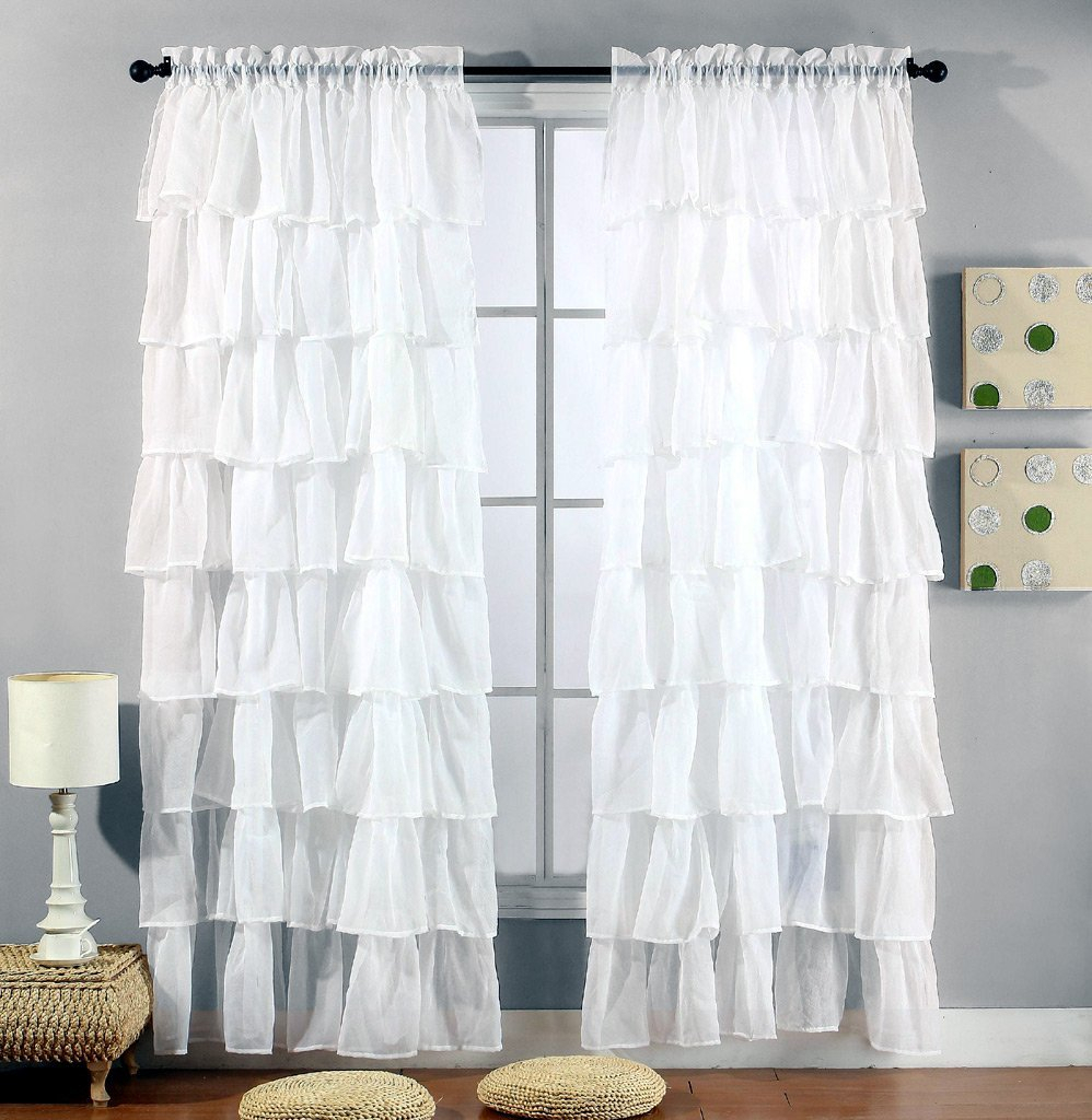 """Buy Green 84"""" Long Gypsy Shabby Chic Ruffled Fabric Shower In Elegant Crushed Voile Ruffle Window Curtain Pieces (View 7 of 20)"""