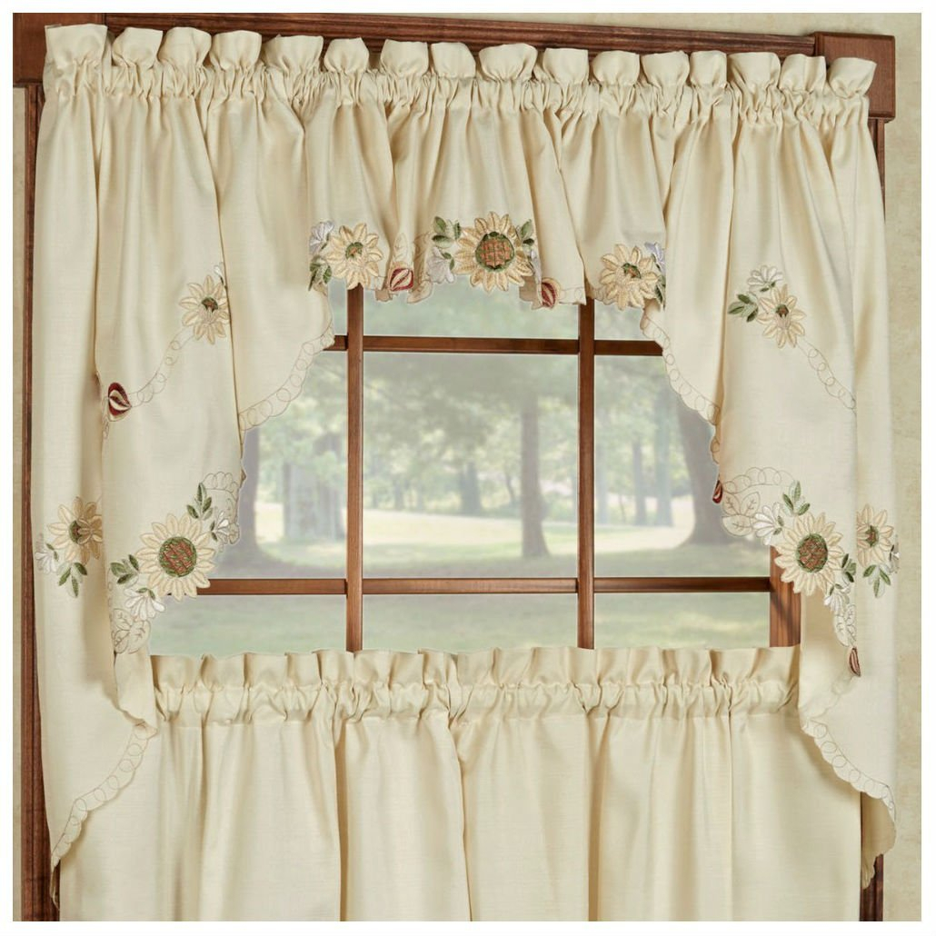 Buy Sunflower Cream Embroidered Kitchen Curtains – Tiers For Coffee Embroidered Kitchen Curtain Tier Sets (View 2 of 20)