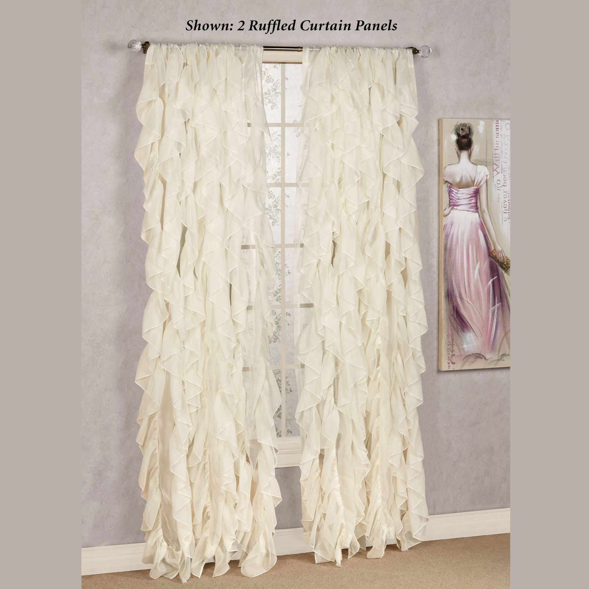 Cascade Sheer Voile Ruffled Window Treatment For Chic Sheer Voile Vertical Ruffled Window Curtain Tiers (View 1 of 20)