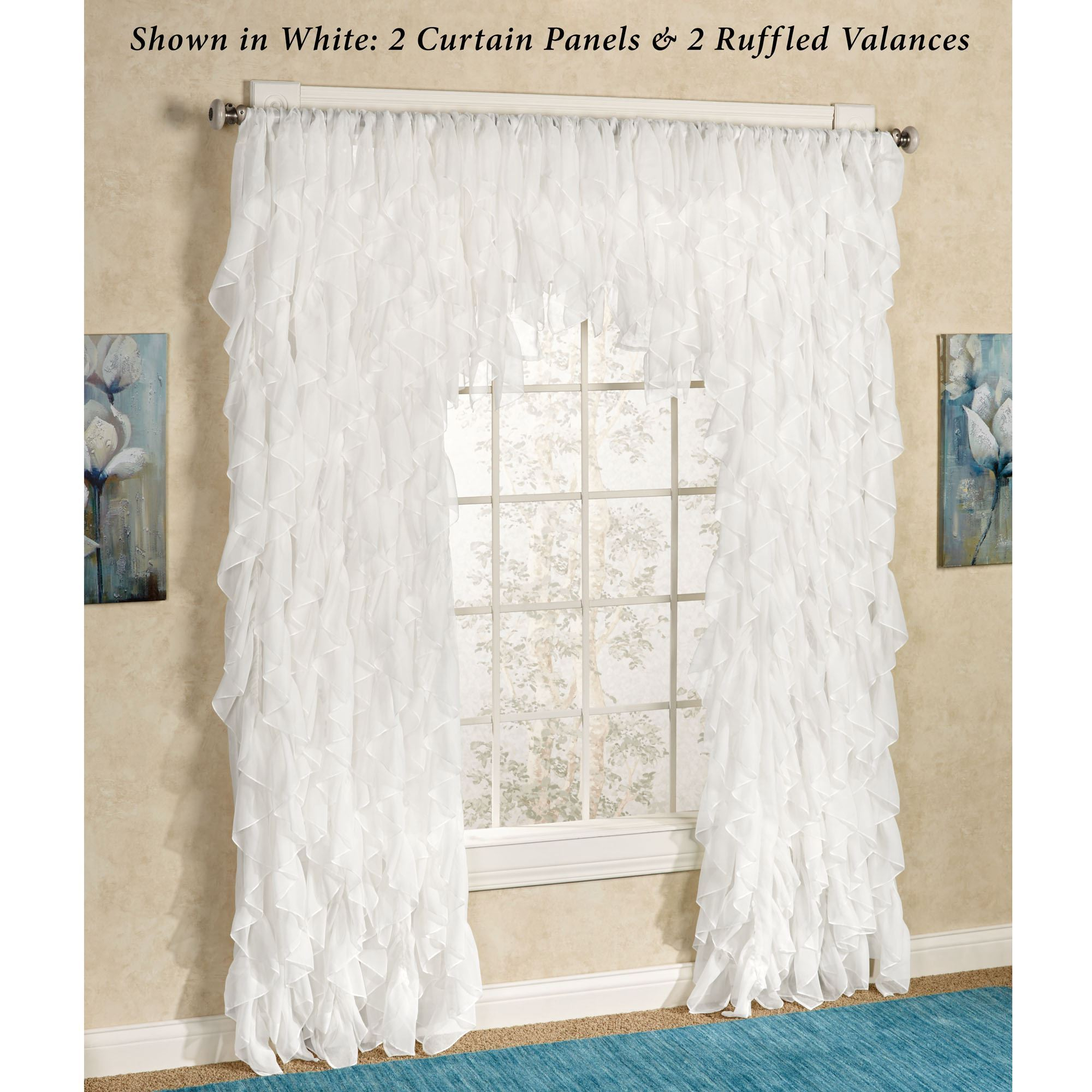 Cascade Sheer Voile Ruffled Window Treatment In Chic Sheer Voile Vertical Ruffled Window Curtain Tiers (View 2 of 20)