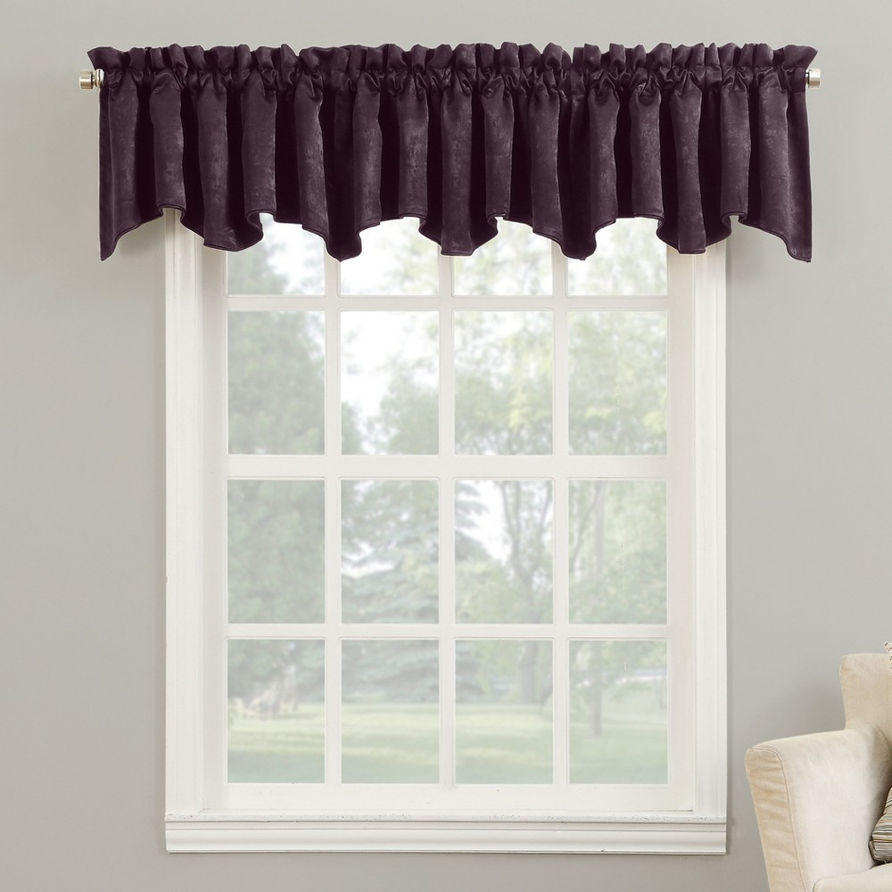 Cassidy Velvet Rod Pocket Blackout Curtain Valance Eggplant intended for Maize Vertical Ruffled Waterfall Valance And Curtain Tiers (Image 4 of 20)