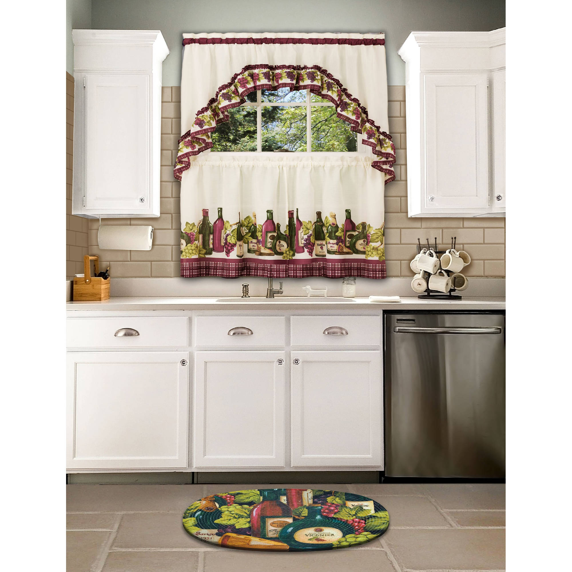 Chardonnay Kitchen Curtain & Swag Set, 1 Each Within Chardonnay Tier And Swag Kitchen Curtain Sets (View 9 of 20)