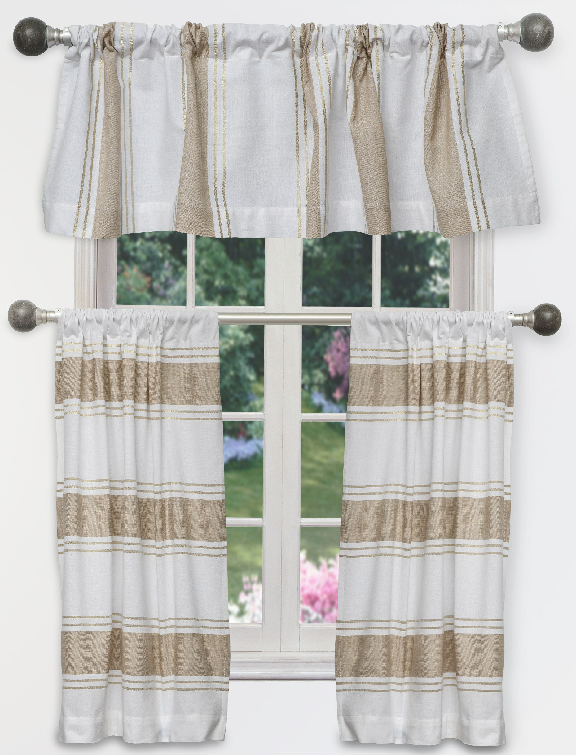 Charlton Home Raci Tier 3 Piece Curtain Set | Wayfair For Modern Subtle Texture Solid White Kitchen Curtain Parts With Grommets Tier And Valance Options (View 19 of 20)