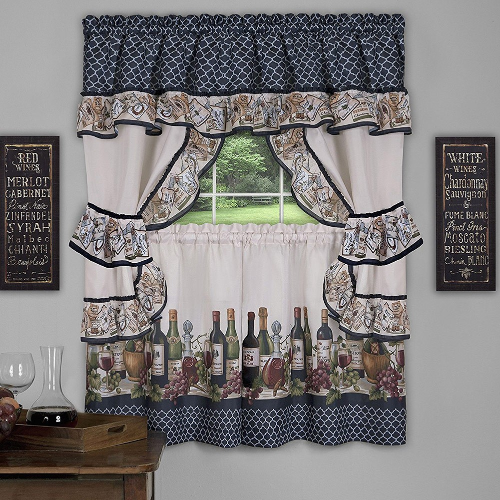 Chateau 3 Piece Kitchen Curtain Valance & Tiers Cottage Set, Navy, 57X36 Inches In Chardonnay Tier And Swag Kitchen Curtain Sets (View 11 of 20)