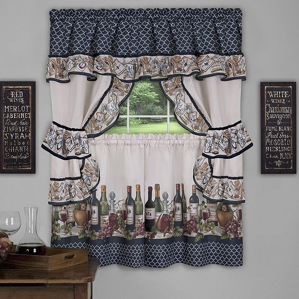 Popular Photo of Chateau Wines Cottage Kitchen Curtain Tier And Valance Sets