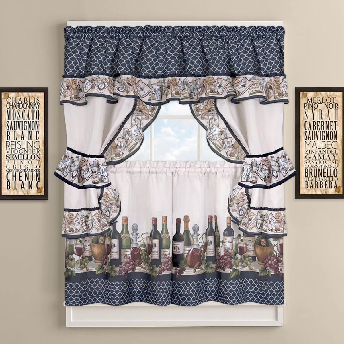 Chateau Wines Cottage Kitchen Curtain Tier And Valance Set Pertaining To Chardonnay Tier And Swag Kitchen Curtain Sets (View 12 of 20)