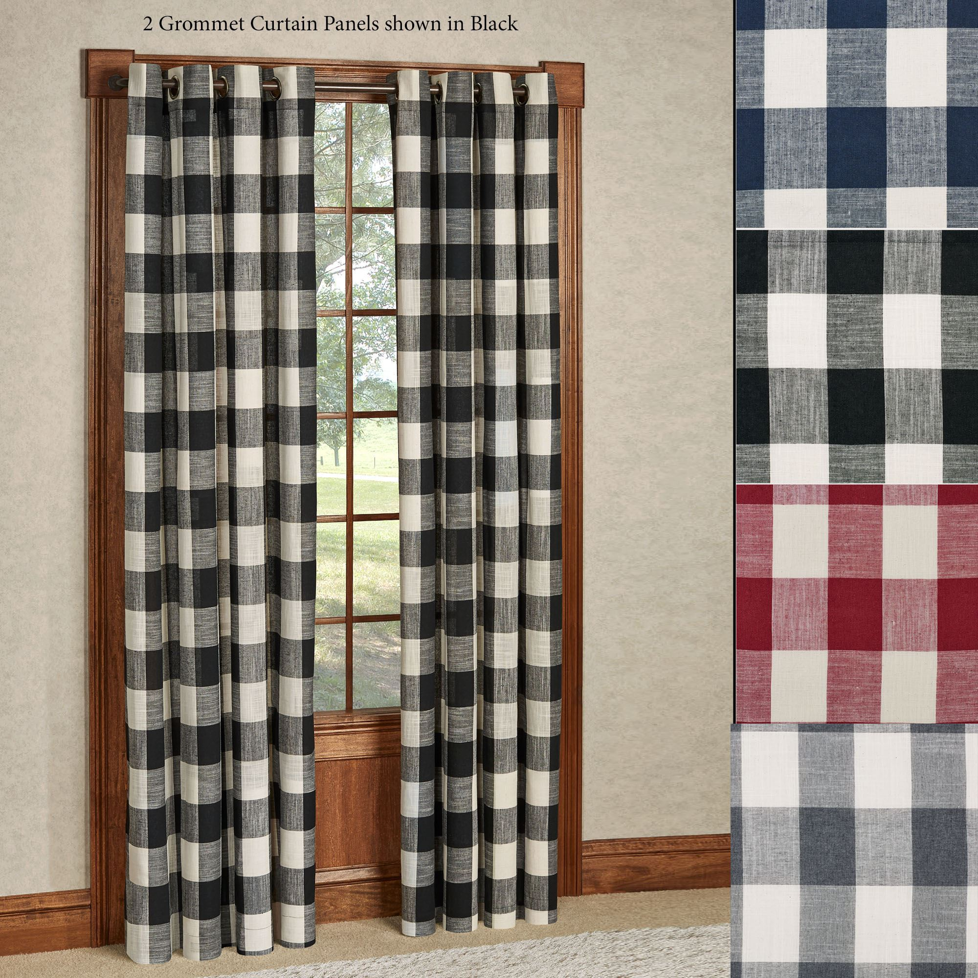 Checkerboard Grommet Window Treatment With Classic Navy Cotton Blend Buffalo Check Kitchen Curtain Sets (View 16 of 20)
