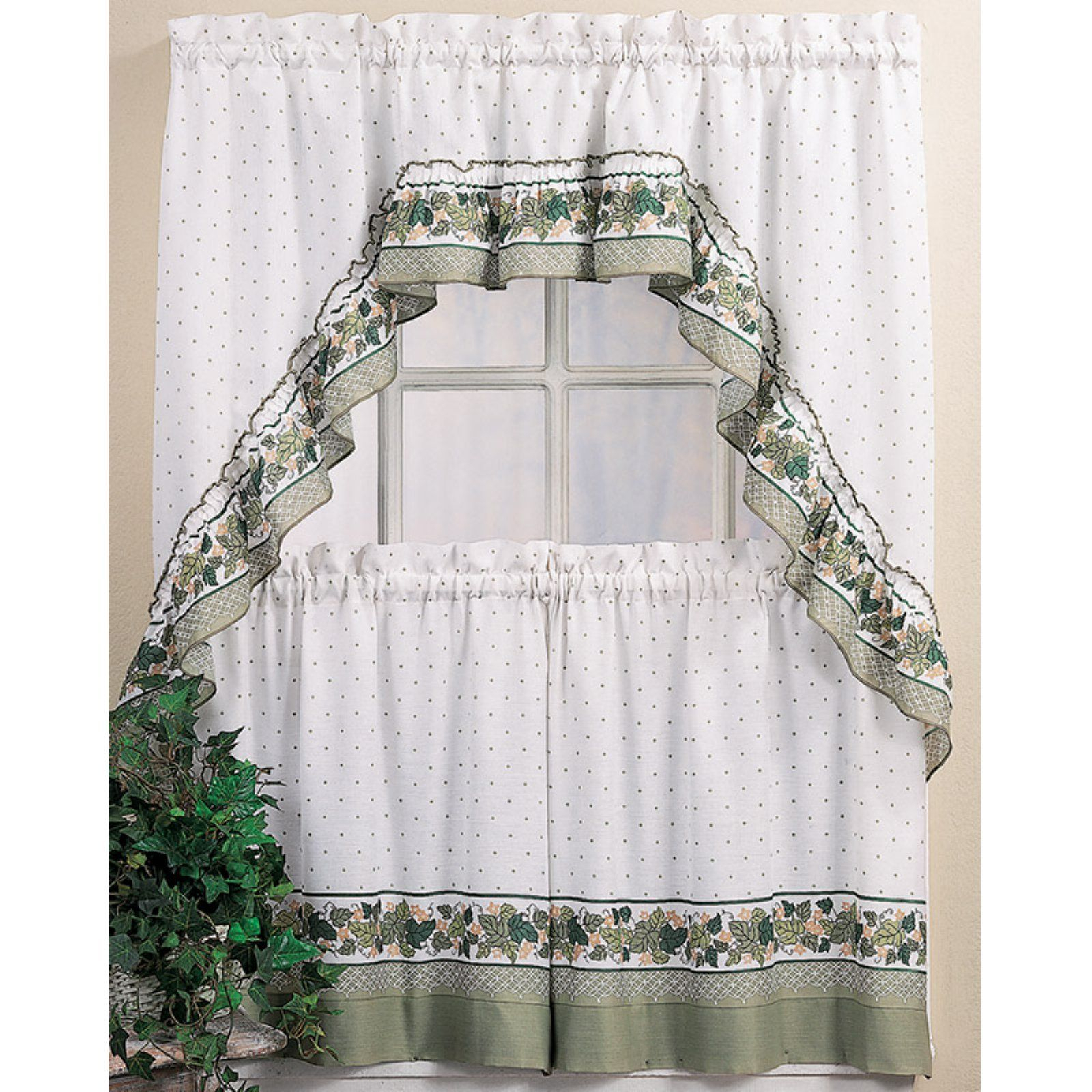 Chf Industries Cottage Ivy Kitchen Curtain Set | Products En Pertaining To Country Style Curtain Parts With White Daisy Lace Accent (View 5 of 20)