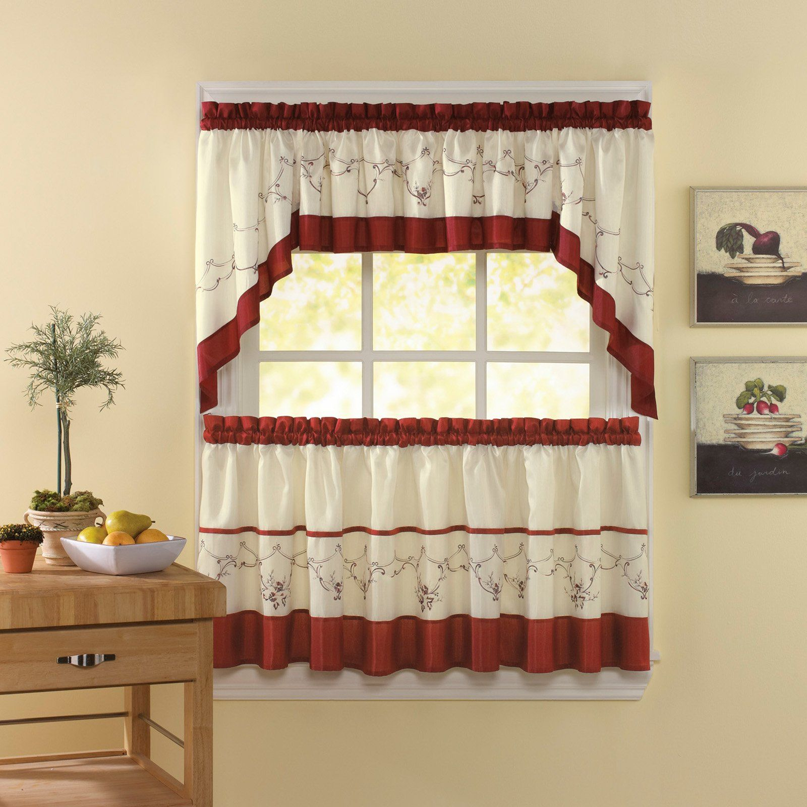 Chf Industries Grace Tailored Kitchen Curtain Set – Curtains Within Grace Cinnabar 5 Piece Curtain Tier And Swag Sets (View 9 of 20)