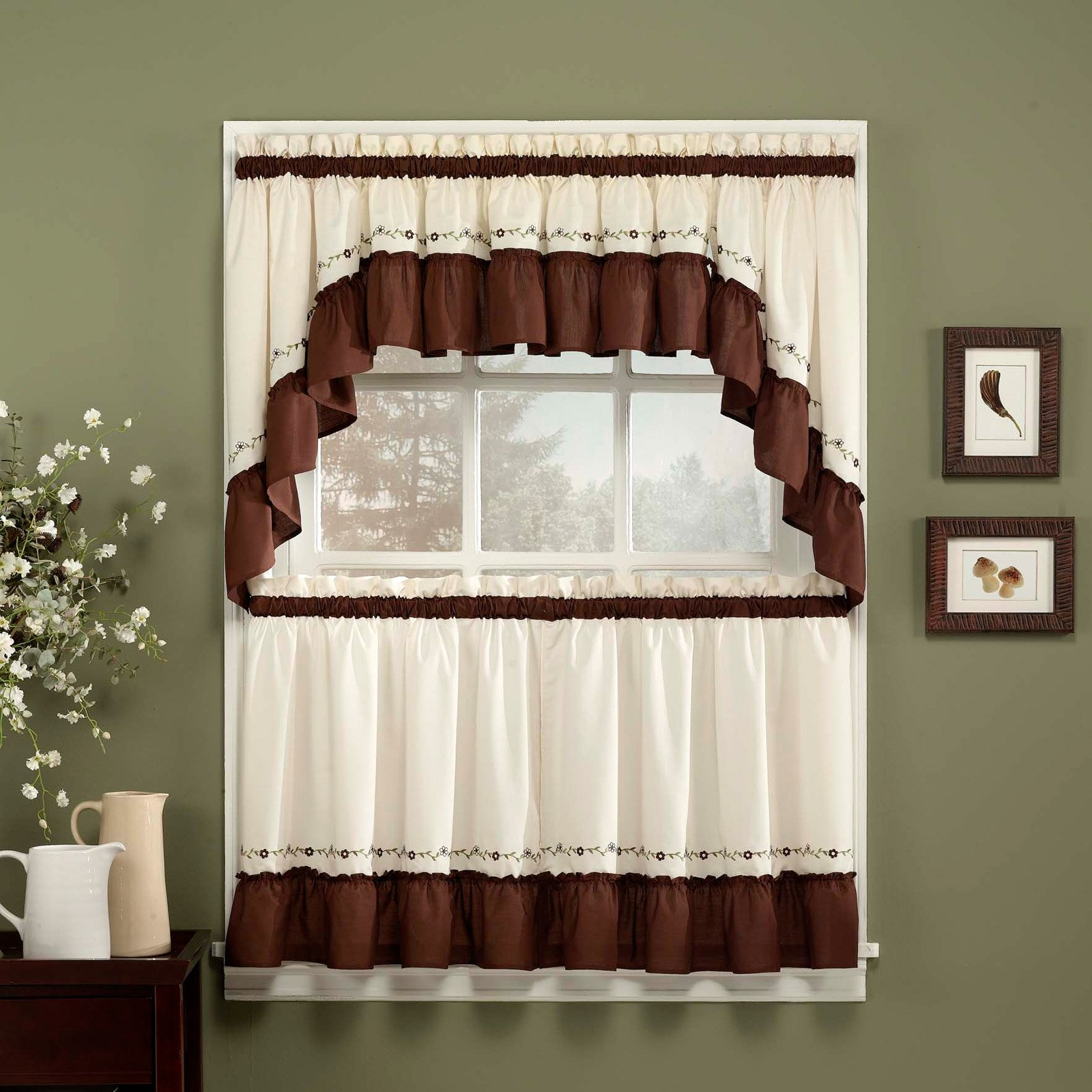 Featured Photo of Cotton Lace 5 Piece Window Tier And Swag Sets