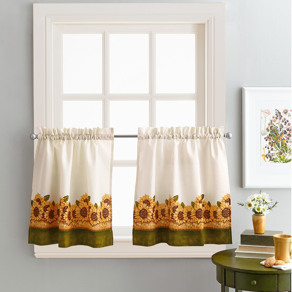 Chf Sunflower Garden Kitchen Tier Set, 23x64 In 2019 Pertaining To Grace Cinnabar 5 Piece Curtain Tier And Swag Sets (View 17 of 20)
