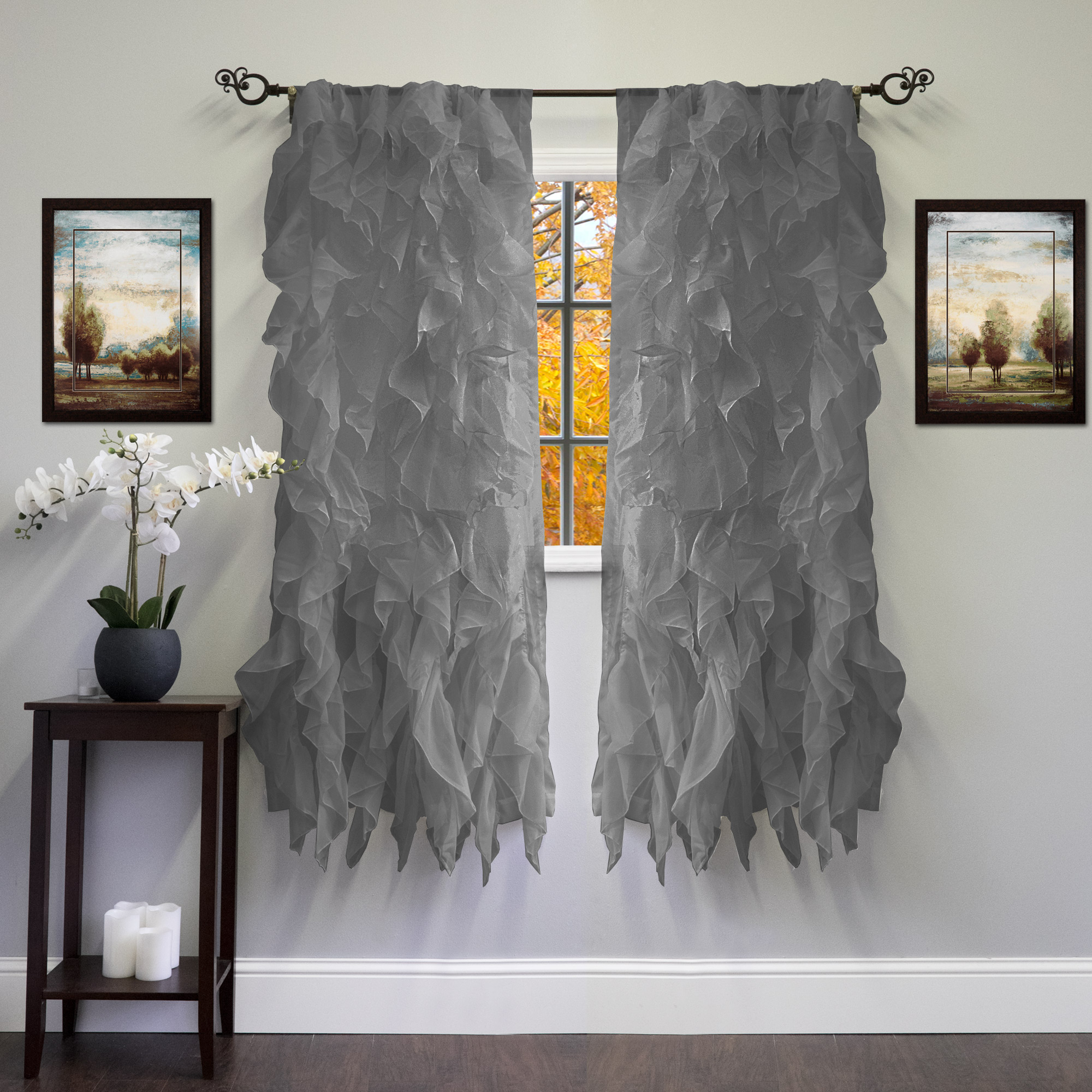"""Chic Sheer Voile Vertical Ruffled Tier Window Curtain Panel 50"""" X 63"""" – Walmart Within Chic Sheer Voile Vertical Ruffled Window Curtain Tiers (View 4 of 20)"""