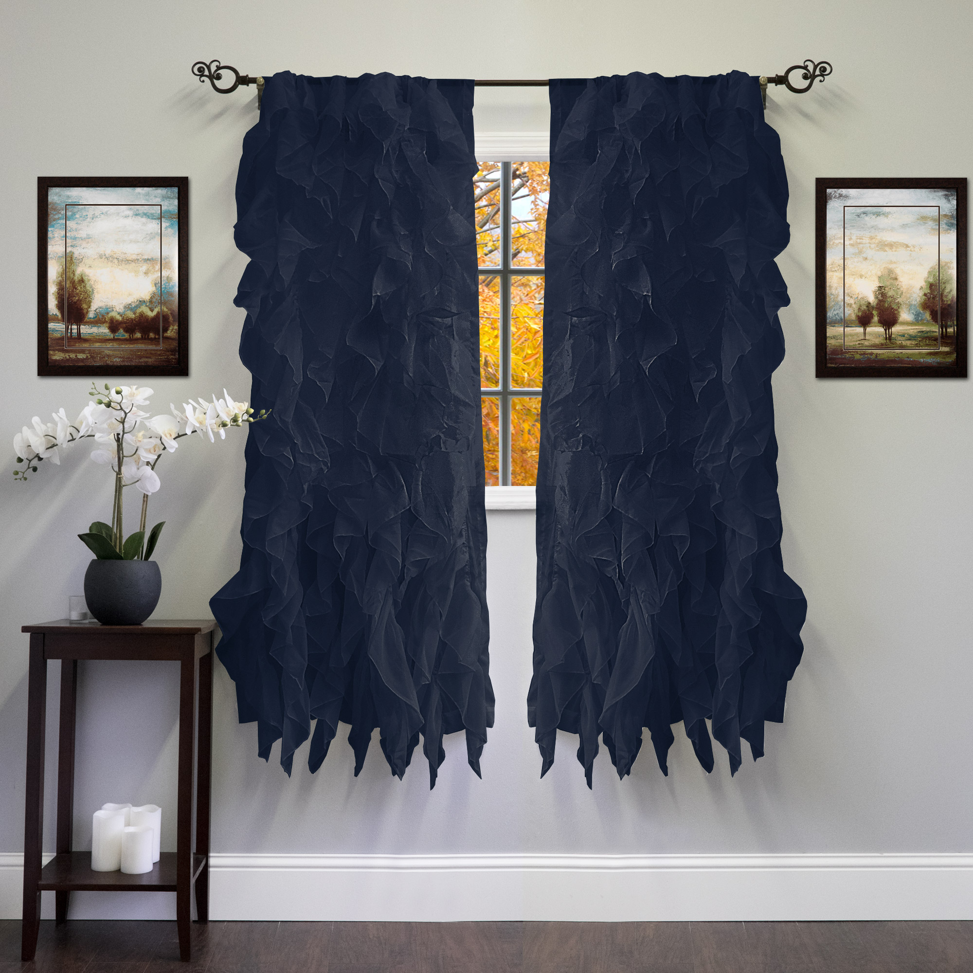 """Chic Sheer Voile Vertical Ruffled Tier Window Curtain Single Panel 50"""" X 84"""" With Regard To Chic Sheer Voile Vertical Ruffled Window Curtain Tiers (View 5 of 20)"""