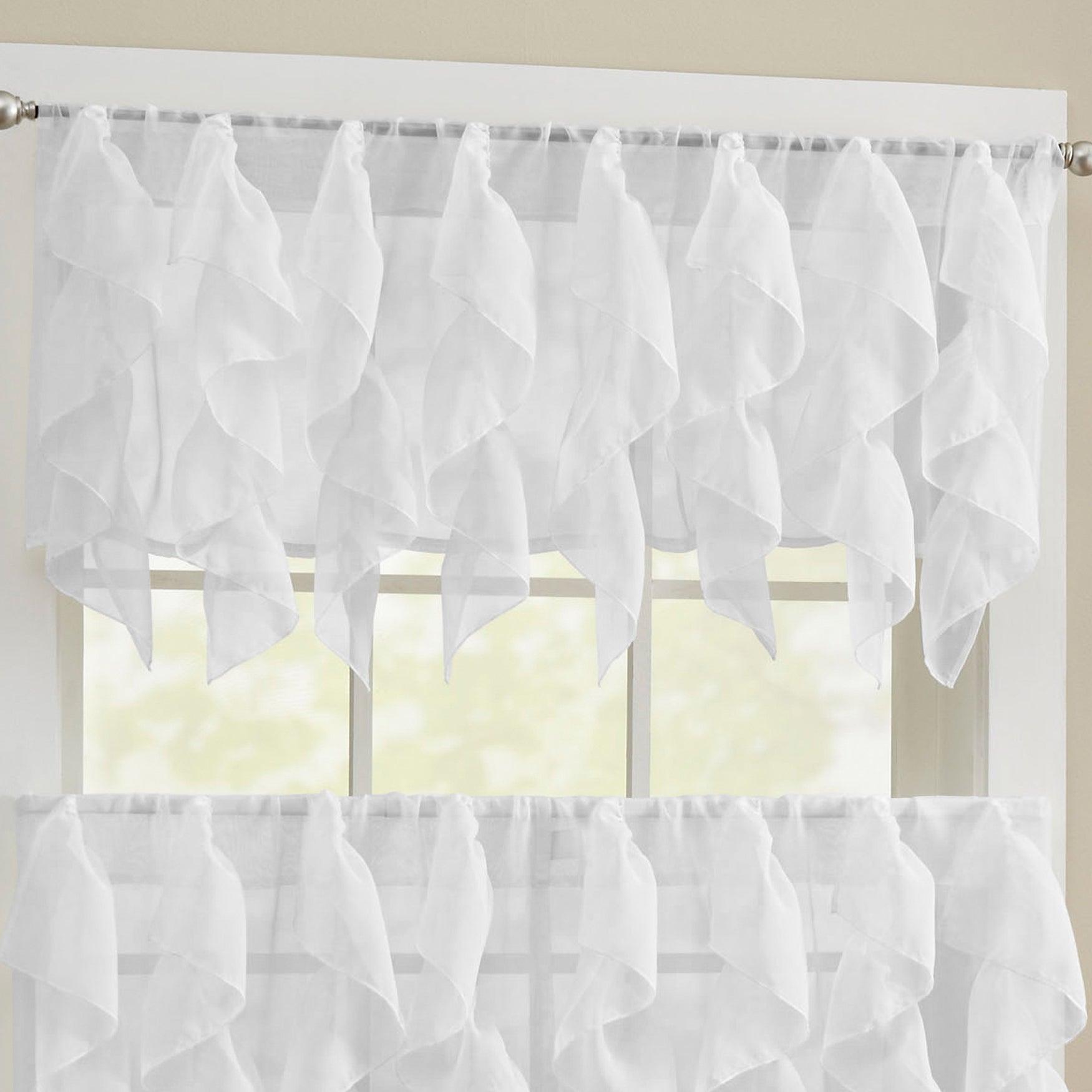 Chic Sheer Voile Vertical Ruffled Tier Window Curtain Valance And Tier In Chic Sheer Voile Vertical Ruffled Window Curtain Tiers (View 6 of 20)