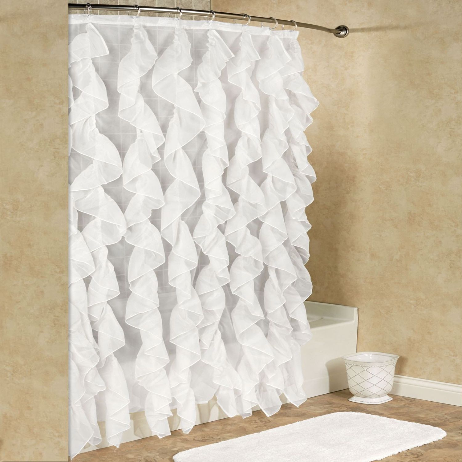 Chic Sheer Voile Vertical Waterfall Ruffled Shower Curtain Intended For Silver Vertical Ruffled Waterfall Valance And Curtain Tiers (View 16 of 20)
