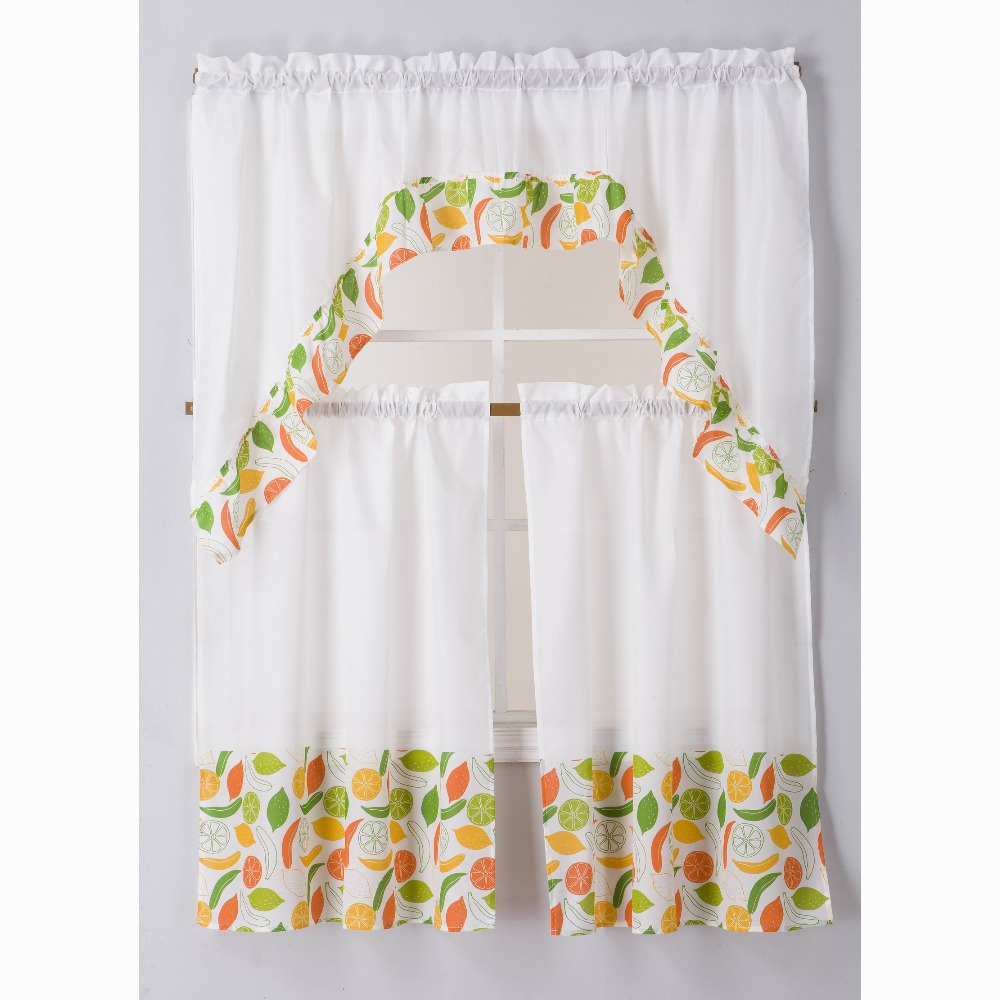 China Kitchen Curtains Wholesale 🇨🇳 – Alibaba In Geometric Print Microfiber 3 Piece Kitchen Curtain Valance And Tiers Sets (View 9 of 20)