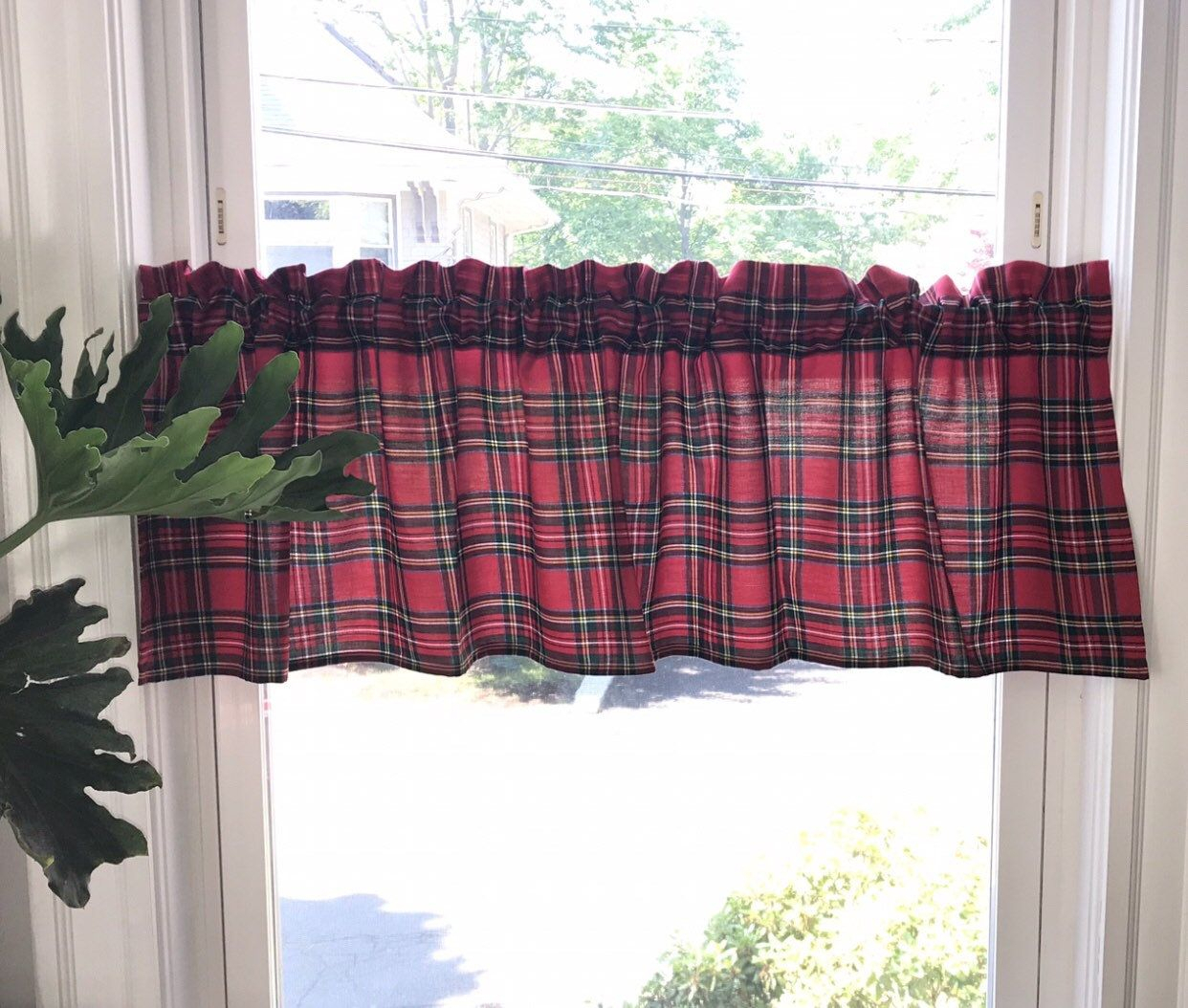 Christmas Royal Stewart Tartan Valance, Red Green Plaid For Cumberland Tier Pair Rod Pocket Cotton Buffalo Check Kitchen Curtains (View 7 of 20)