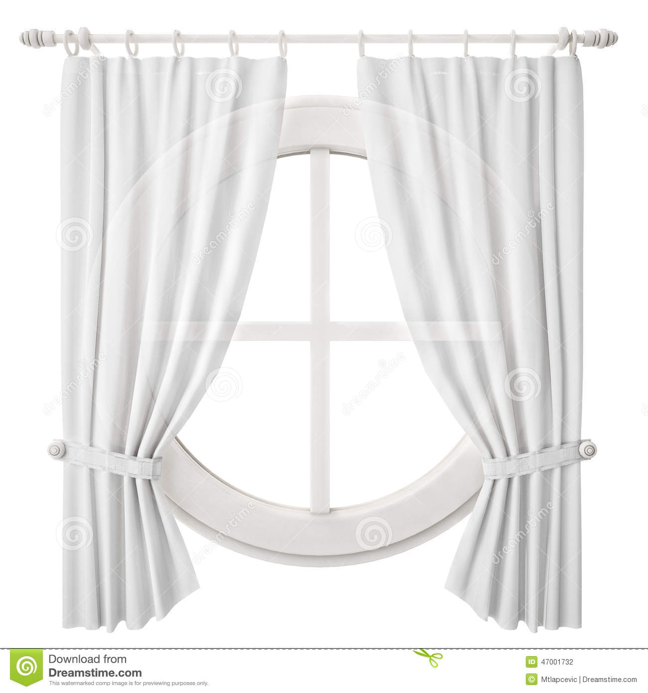 Circle Window Frame With Curtain Isolated On White With Regard To Circle Curtain Valances (View 4 of 20)
