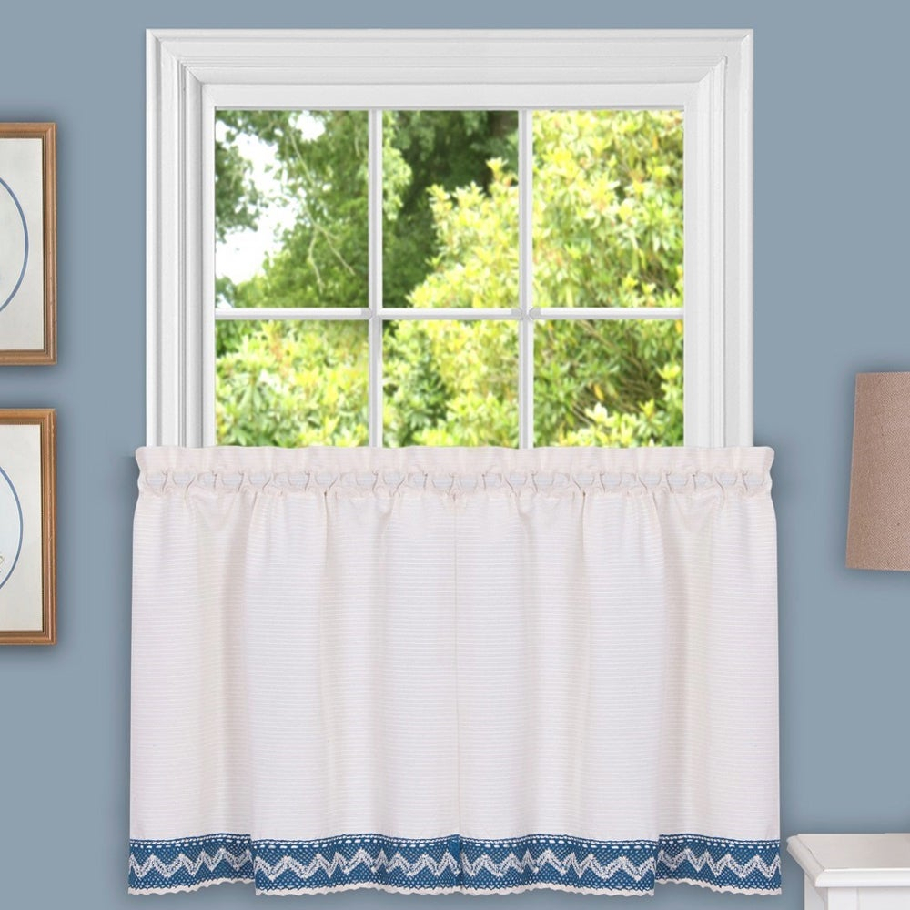 Class Blue Cotton Blend Macrame Trimmed Decorative Window Curtain Separates, Tier Pair And Valance Options Pertaining To Class Blue Cotton Blend Macrame Trimmed Decorative Window Curtains (View 5 of 20)