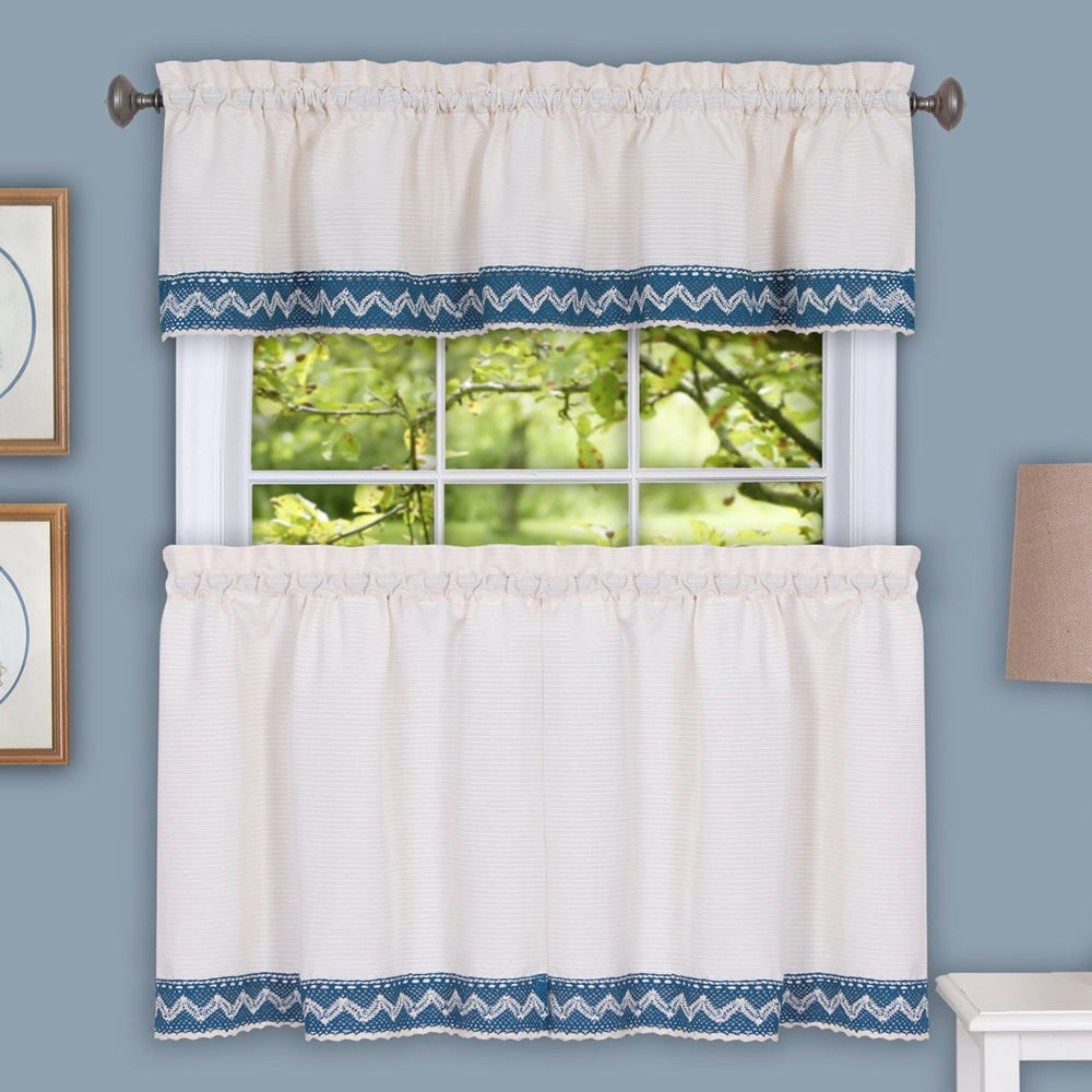 Popular Photo of Class Blue Cotton Blend Macrame Trimmed Decorative Window Curtains