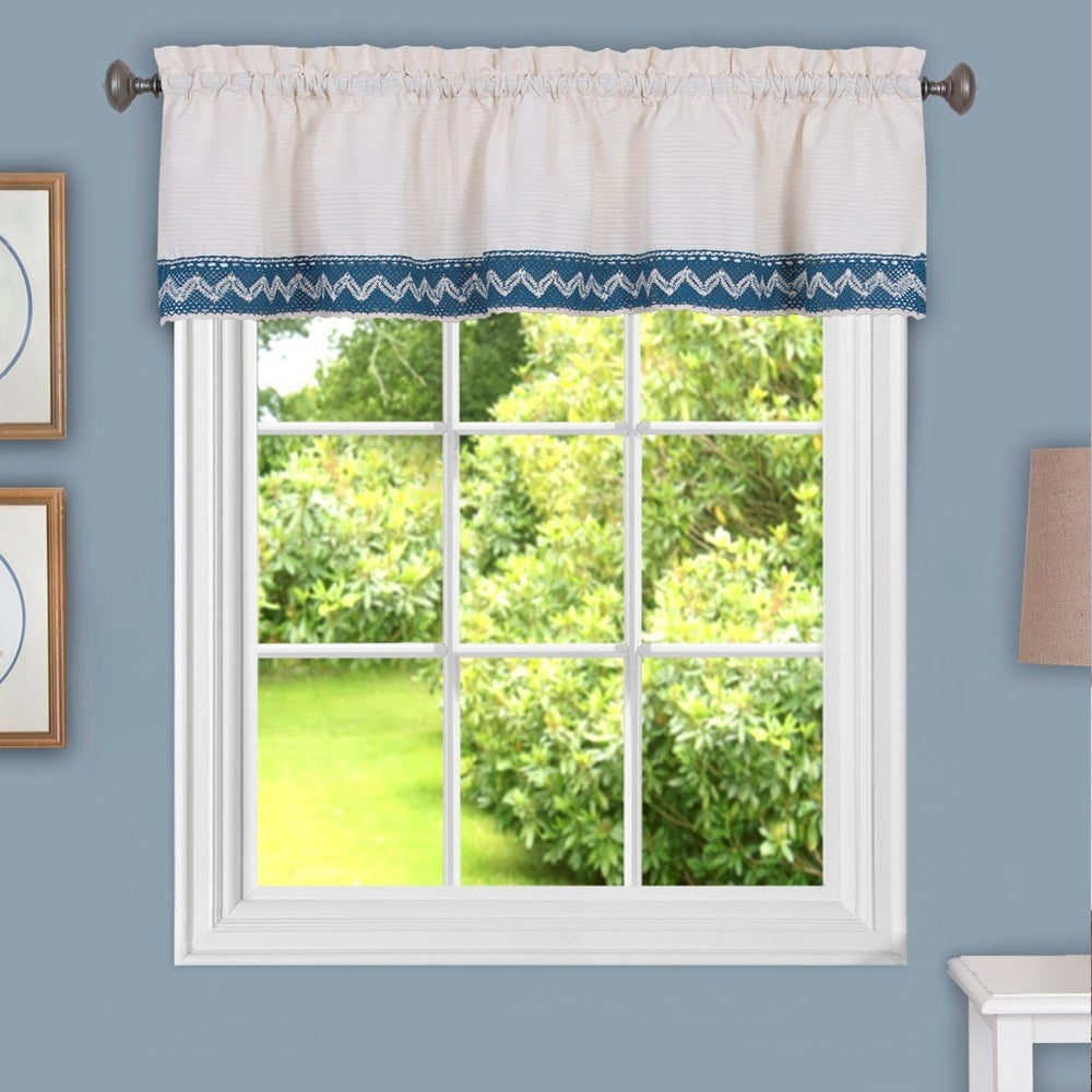 Class Blue Cotton Blend Macrame Trimmed Decorative Window Curtain Separates, Tier Pair And Valance Options With Regard To Class Blue Cotton Blend Macrame Trimmed Decorative Window Curtains (View 7 of 20)